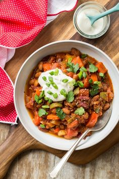 My Favourite Vegan Chili with Homemade Sour Cream - the perfect bowl of healthy winter comfort food.