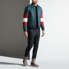 QUILTED TRI-COLOUR JACKET - DARK TEAL 16 POLYAMIDE Jackets