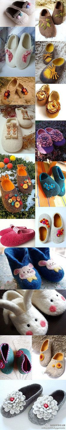 .embellishments for felted slippers. I like the interior in a contrasting color!