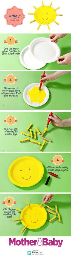 How to make a sunshine - fun crafting for your toddler. Toddlers will love clipping the pegs on and off this bright sunshine, and it's great fine motor-control practice too.  It also looks fab propped up  on a windowsill. #crafts #toddlercrafts #artsandcrafts #toddlergames #toddlertoys #kidscrafts #craftsfortoddlers