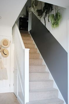 Home sweet home Will a half-painted stairway wall beat dirty hand marks and scuffs for good? Decorating Stairway Walls, Stairwell Wall, Staircase Wall Decor, Hallway Paint, Stair Walls, Hallway Walls, Stairway Paint Ideas, Half Painted Walls, Painted Stairs