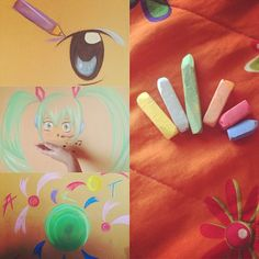 This is what happens when there's no paper in my room #chalk #hatsunemiku #anime #art #colour #painting ️✂️✏️