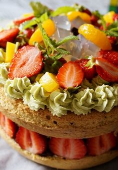 Strawberry and  Agar Japanese Cake