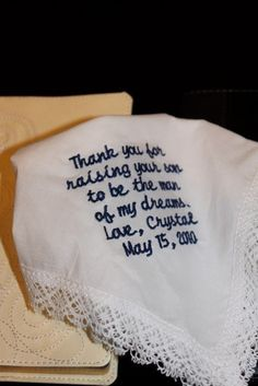 thank you embroidered handkerchief for his mom