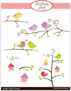 Clip art Valentine  Love Birds on the branch 2 by audreeart, $4.80