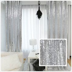 TRLYC New Year Sequin Silver Curtains, Select You Size, Sparkly Silver Sequin Fabric Photography Backdrop, Best Wedding/Home/Party Fashion Decoration Sequin Curtains, Silver Curtains, Glitter Curtains, Sequin Backdrop, Sequin Fabric, Drapes Curtains, Backdrop Wedding, Mesh Fabric, White Curtains