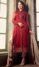 Red Color Net Embroidered Pant Style Suit  #salwarpants #salwarsuitsonline Sport exuberance in this red color net embroidered pant style suit. That you can see some interesting patterns completed with lace and resham work.  USD $ 105 (Around £ 72 & Euro 80)