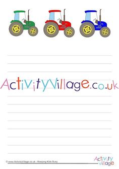 Tractor writing paper - blank, lined, handwriting lines available. Handwriting Lines, Handwriting Analysis, Tractor Coloring Pages, Colouring Pages, Tractor Crafts, Tractors For Kids, Activity Village, Activities For Kids, Crafts For Kids