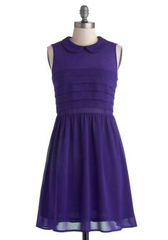 Berry Craze Dress in Grape - Sheer, Woven, Short, Chiffon, Purple, Solid, Peter Pan Collar, Party, A-line, Sleeveless, Good, Collared, Pleat...
