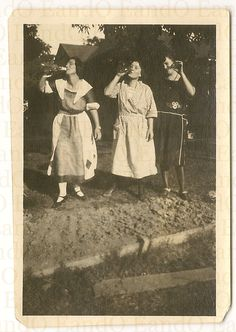 Rare Antique Photo of Three Women Drinking Alcohol in Front of Their House 1920s Prohibition