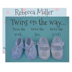 Cute pastel shoes twins baby shower invitation Custom order #silver #wedding #invitations Make your day special with these #Elegant #weddinginvitations #party #cards #simple #weddingstationary