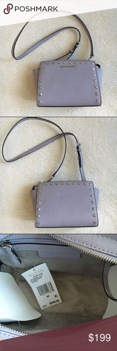 MICHAEL KORS crossbody Michael Kors Selma stud mini messenger cross body bag rendered in Saffiano leather. Polished logo lettering and studs in silver tone. The top zip opens to a lined interior with 3 card slits. Adjustable shoulder strap. Measures 9 wide X 7 tall , 24.5 inch strap. New! Authentic 🚫trades Michael Kors Bags Crossbody Bags