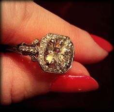 Carat 'D' color diamond Edwardian style engagement ring. Via Diamonds in the Library.not really digging the halo, maybe if it were a daintier halo Antique Diamond Rings, Pretty Rings, Dream Ring, Diamond Are A Girls Best Friend, Colored Diamonds, Just In Case, Fine Jewelry, Jewelry Rings, Wedding Rings