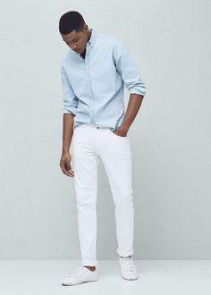 Oblečení Pánské od 249 Kč Mango Man na White Outfit For Men, White Jeans Outfit, Korean Men Hairstyle, Denim Jacket Men, Denim Shirt, Moda Casual, Men Style Tips, Well Dressed Men, Skinny Jeans