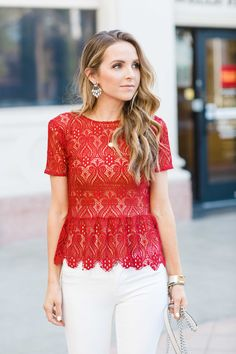 Merrick' Art: Style + Sewing for the Everyday Girl: DIY Friday: Red Lace Peplum Top