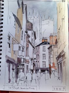 #watercolor #sketch | Low Petergate York | A sketch study for a 'proper' painting