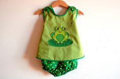 FROGGY baby reversible handmade pinafore and bloomers by melimelon, £24.00