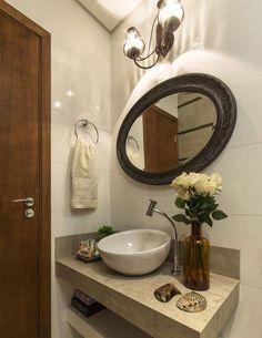 Pia decorada para banheiros pequenos decorados