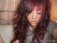 Red Long Black Bangs Curly Hair At Hipster Hairstyle Photo Design 400x300 Pixel