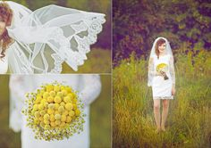Yellow flowers bouquet ang lace wedding dress.