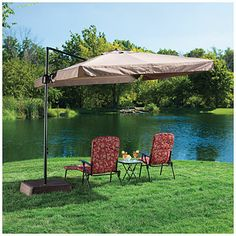 Wilson & Fisher® Offset 8.5' Square Umbrella with Removable Netting at Big Lots.