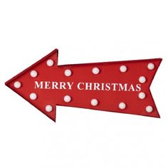 Fleche lumineuse merry christmas rouge a poser