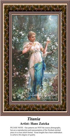 Titania by renowned artist Hans Zatzka.  Fine Art Counted Cross Stitch Pattern Fine Art Counted Cross Stitch Pattern also available in Kit and Digital Download #pinterestcrossstitchpattern #pinterestgifts #fineartcrossstitchpatternsPatternPattern