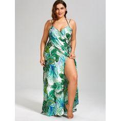 58ff20a9131 Palm Leaf Print Plus Size Maxi Cover Up Dress - GREEN 2XL