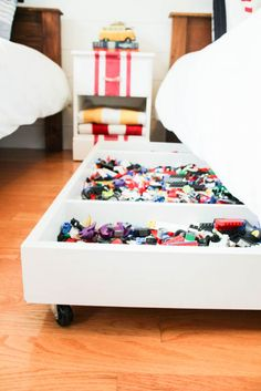 how to make a DIY Under Bed Rolling Lego Storage Cart at thehappyhousie.com-17