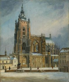Old Paintings, Urban Landscape, Prague, Czech Republic, Old Photos, Barcelona Cathedral, Sketching, Illustrators, The Past