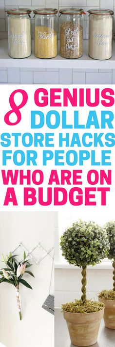 These 8 genius dollar store hacks for people on a budget are THE BEST! I'm so glad I found these AMAZING tips! Now I have some great ways to decorate and organize my home on a budget! Definitely pinning!