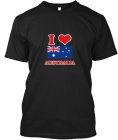 I Love Australia Black T-Shirt Front - This is the perfect gift for someone who loves Australia. Thank you for visiting my page (Related terms: I Heart Australia,Australia,Australian,Australia Travel,I Love My Country,Australia Flag, Australia  #Australia, #Australiashirts...)