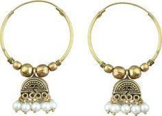 Waama Jewels Beautiful White Pearl Gold Plated Jhumki For Women & Girls Pearl Brass Jhumki Earring