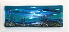 Ocean Depths 129 - Fused Glass Panel on Board by Nicky Exell