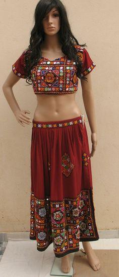 KUCHI RABARI BANJARA TRIBAL ETHNIC BELLY DANCE MIRROR ATS SKIRT CHOLI COSTUME