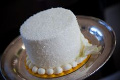 simple wedding cake with coarse sugar for some shine