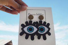 eyes earrings/ patches earrings/ stud earrings/ big earrings/handmade earrings/ custom earrings by ommiesukkho on Etsy