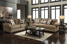 Kelemen - Amber - Sofa & Loveseat by Signature Design by Ashley. Get your Kelemen - Amber - Sofa & Loveseat at That Furniture Outlet, Edina MN furniture store. Living Room Decor On A Budget, Living Room Sets, Living Room Furniture, Living Spaces, Small Living, Couch And Loveseat Set, At Home Furniture Store, Contemporary Home Decor, Contemporary Design