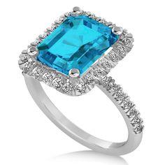 Emerald-cut Blue Topaz & Diamond Engagement Ring 18k White Gold (3.32ct) - Allurez.com