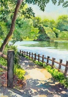 colorful art paintings landscapes * colorful art paintings landscapes – Famous Last Words Landscape Sketch, Watercolor Landscape Paintings, Watercolor Trees, Landscape Drawings, Easy Watercolor, Landscape Art, Tattoo Watercolor, Watercolor Animals, Watercolor Background