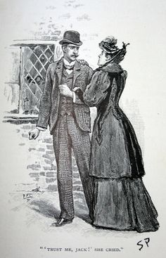 """""""Sidney Paget illustration from Sherlock Holmes story """"The Adventure of the Yellow Face"""" featured in The Strand magazine 1893."""""""