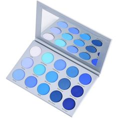 Kara Beauty ES22 15 COLOR SMOKY BLUE EYESHADOW (€21) ❤ liked on Polyvore featuring beauty products, makeup, eye makeup and eyeshadow