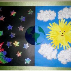 Preschool Arts And Crafts, Paper Crafts For Kids, Projects For Kids, Diy And Crafts, Class Decoration, School Decorations, Space Activities, Diy Galaxy, Art Classroom