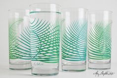 Cocktail Highball Drinking Glasses With Green Summer Fern - Set Of 4 by Mary Elizabeth Arts on Gourmly