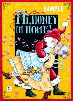Licensed Mary Engelbreit Christmas Holiday Fridge Magnet Refrigerator Santa Honey I'm Home. $4.25, via Etsy.