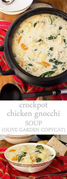 Easy crockpot chicken gnocchi soup (Olive Garden copycat, with pressure cooker version!) Easy crockpot chicken gnocchi soup (Olive Garden copycat, with pressure cooker version!),Food This crockpot chicken gnocchi soup is just like the one. Delicious Crockpot Recipes, Slow Cooker Recipes, Cooking Recipes, Healthy Crockpot Soup Recipes, Crock Pot Soup Recipes, Easy Recipes, Olive Recipes, Olive Garden Chicken Gnocchi Soup Recipe Crock Pot, Vegan Recipes