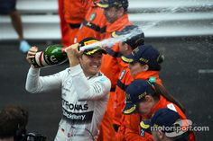 Race winner Nico Rosberg, Mercedes AMG celebrates on the podium. Photo by XPB Images on May 2015 at Monaco GP. Browse through our high-res professional motorsports photography Nico Rosberg, Monaco Grand Prix, F1 Drivers, Mercedes Amg, Monte Carlo, Racing, Celebrities, Photography, Running