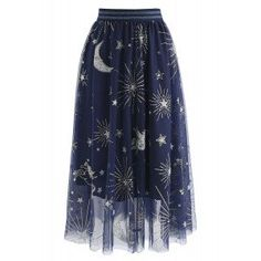 Myth Of Stars Mesh Tulle Midi Skirt in Navy - Retro, Indie and Unique Fashion