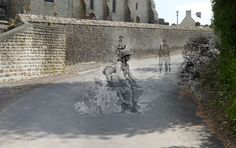 Ghosts of War- WW2 photos superimposed on the same modern streets.