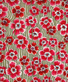 Liberty London / A smart retro floral with toothpaste stripes created from an all over floral of 'Bizzy Lizzies' dating from 1961.